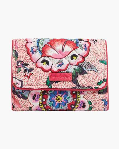 Iconic RFID Riley Compact Wallet in Stitched Flowers