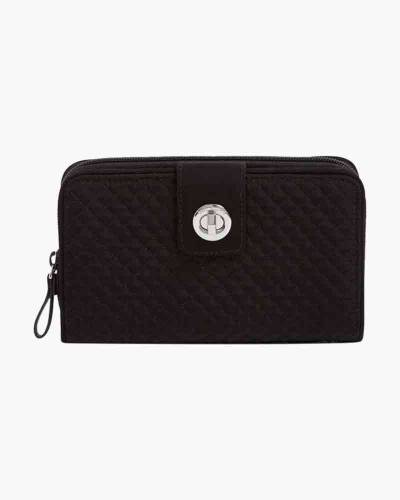 Iconic RFID Turnlock Wallet in Classic Black