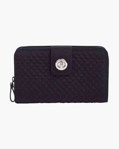 Iconic RFID Turnlock Wallet in Classic Navy