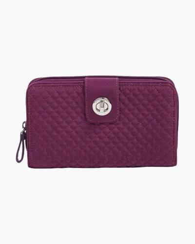 Iconic RFID Turnlock Wallet in Microfiber Gloxinia Purple