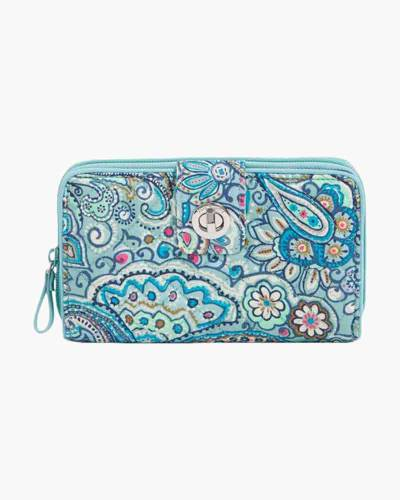 Iconic RFID Turnlock Wallet in Daisy Dot Paisley