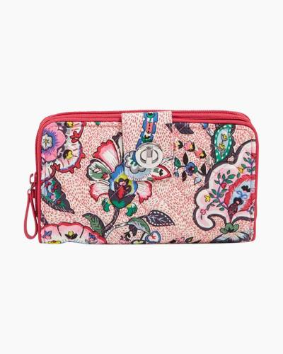 Iconic RFID Turnlock Wallet in Stitched Flowers