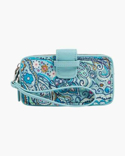RFID Smartphone Wristlet in Daisy Dot Paisley