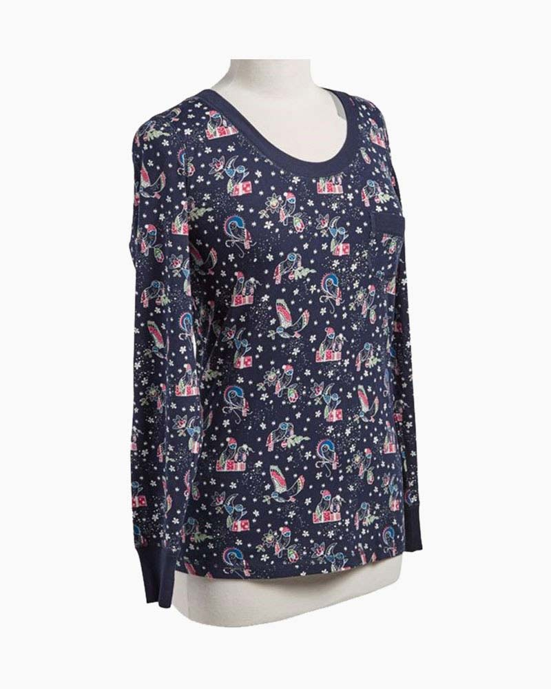6cd03f0f46 Henley Pajama Top in Holiday Owls Alternate View