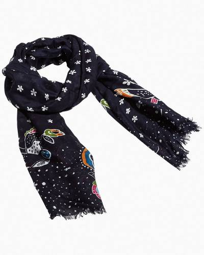 Soft Fringe Scarf in Starry Owls