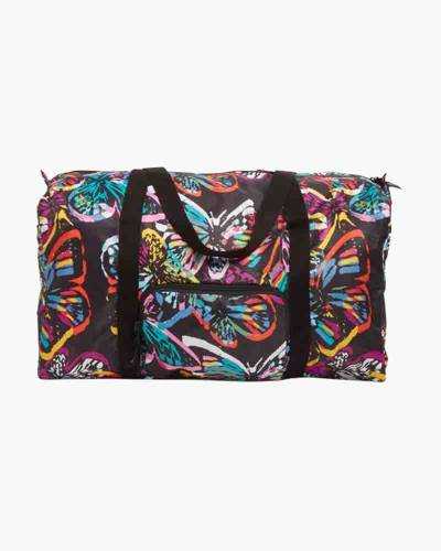 Packable Duffel Travel Bag in Butterfly Flutter Black