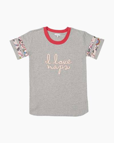 Pajama Baseball Tee in Stitched Flowers