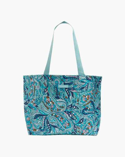 Drawstring Family Tote in Daisy Paisley