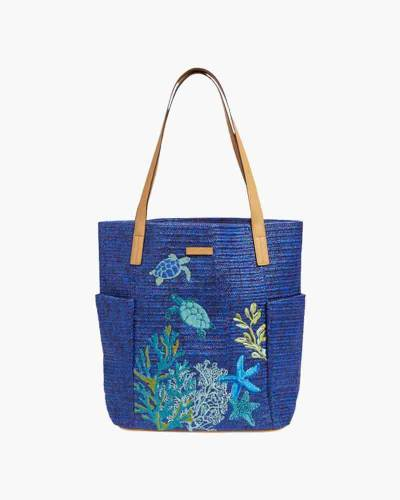 North South Straw Beach Tote in Navy