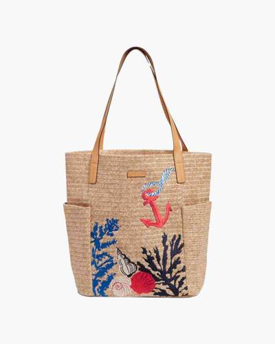 North South Straw Beach Tote in Natural