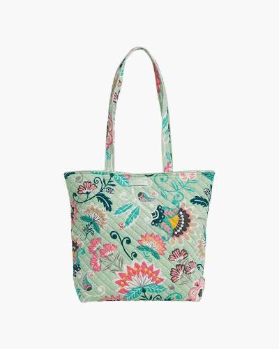 Iconic Tote Bag in Mint Flowers