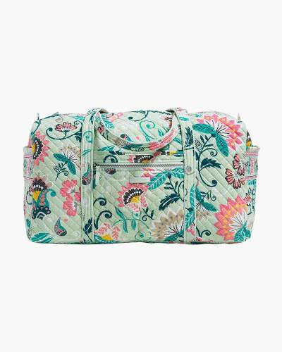 Iconic Large Travel Duffel in Mint Flowers