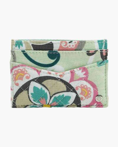 Iconic Slim Card Case in Mint Flowers