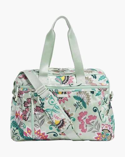 Lighten Up Weekender Travel Bag in Mint Flowers
