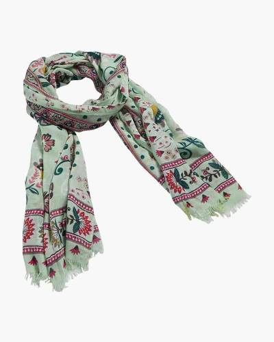 Soft Fringe Scarf in Mint Flowers