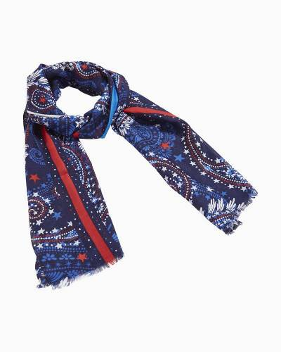 Soft Fringe Scarf in Fireworks Paisley