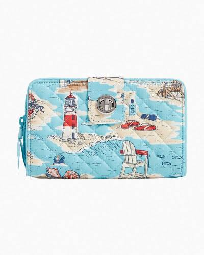 Exclusive Iconic RFID Turnlock Wallet in Beach Toile