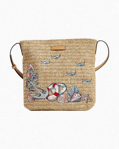 Exclusive Straw Crossbody in Beach Toile