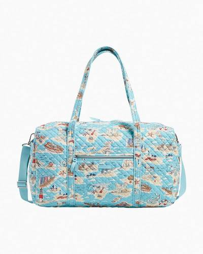 Exclusive Iconic Large Travel Duffel in Beach Toile