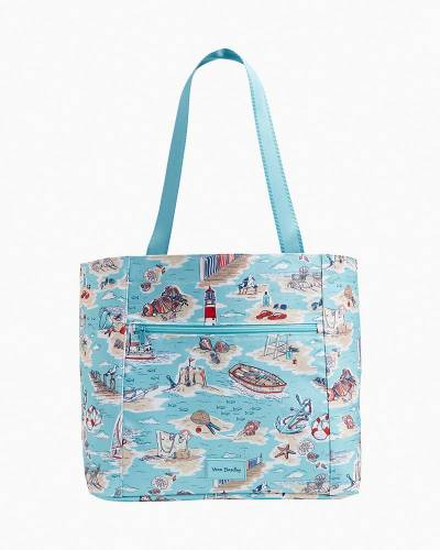 Exclusive ReActive Drawstring Family Tote Bag in Beach Toile
