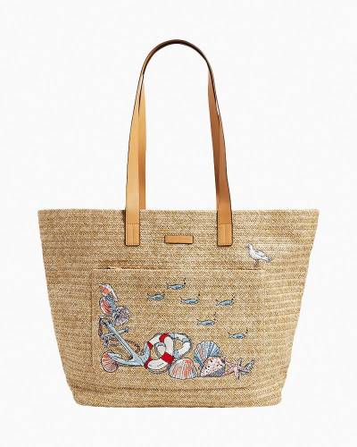 Exclusive Front Pocket Straw Tote in Beach Toile