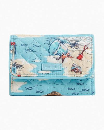 Exclusive RFID Riley Compact Wallet in Beach Toile