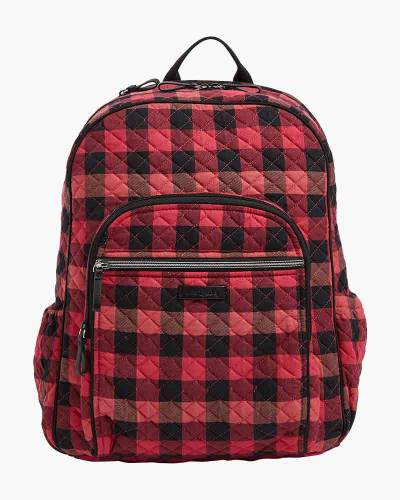 Iconic Campus Backpack in Garnet Buffalo Check
