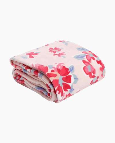 Plush Throw Blanket in Pretty Posies Pink