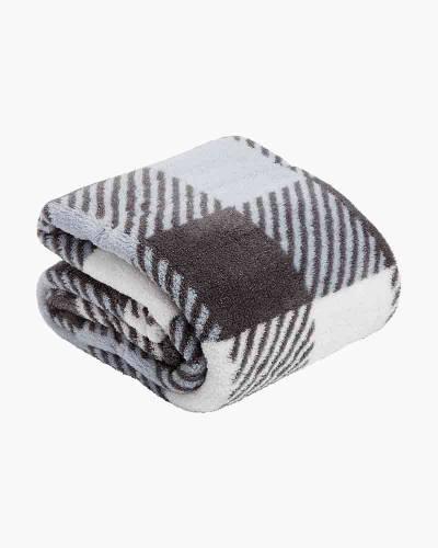 Plush Shimmer Throw Blanket in Neutral Buffalo Check