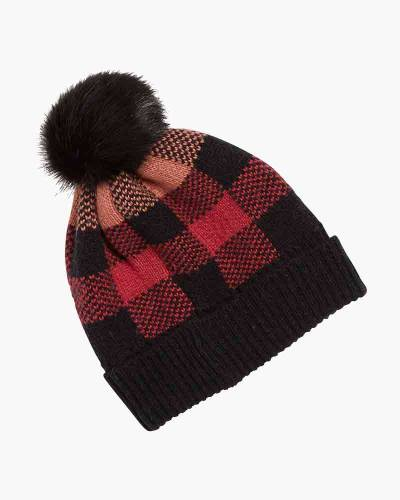 Cozy Hat in Garnet Buffalo Check