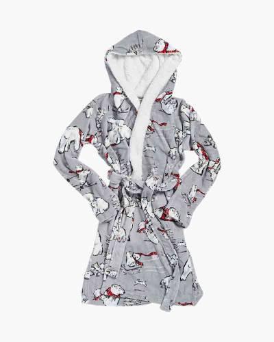 Hooded Fleece Robe in Beary Merry