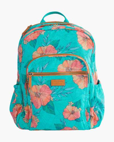 Pura Vida Iconic Campus Backpack in Citrus Hibiscus