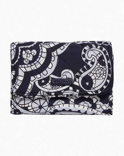 RFID Riley Compact Wallet in Deep Night Paisley Neutral