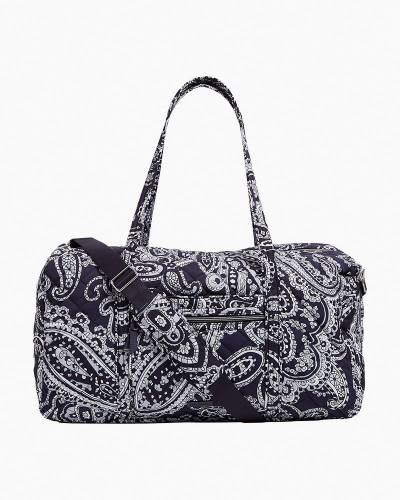 Lay Flat Travel Duffel in Deep Night Paisley Neutral