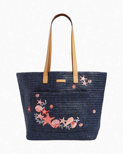 Front Pocket Straw Tote Bag in Navy Sea Life