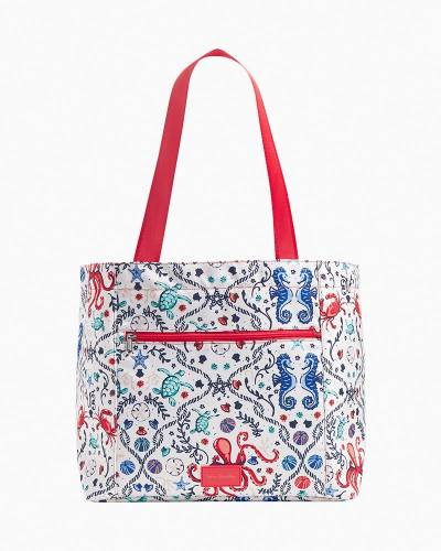 Recycled Lighten Up Drawstring Family Tote in Sea Life
