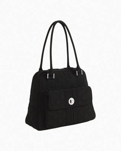 Turn Lock Satchel Shoulder Bag in Classic Black