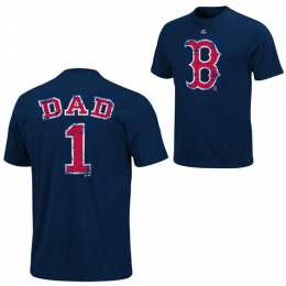 Majestic Boston Red Sox Number 1 Dad Distressed Tee