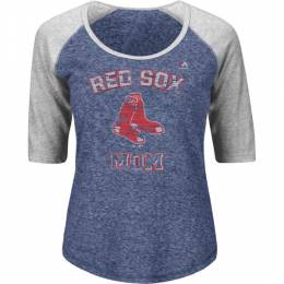 Majestic Boston Red Sox Mom 1/2 Sleeve Raglan Scoop Neck Tee