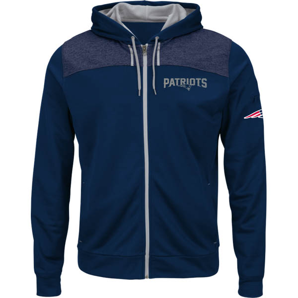 Majestic New England Patriots Men's Game Elite Full Zip Hoodie