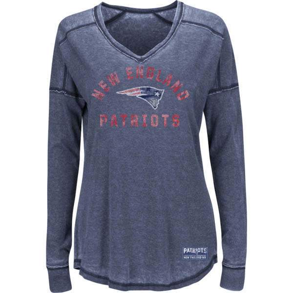 Majestic New England Patriots Victory Play Women's Long Sleeve V-Neck Top