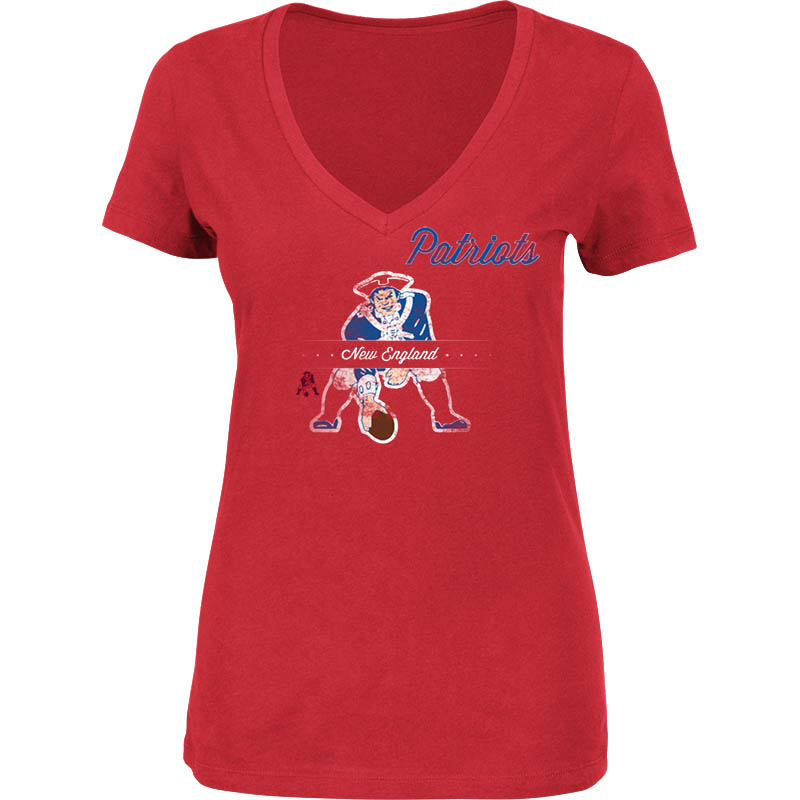 Majestic New England Patriots Women's Classic Logo V-Neck Tee