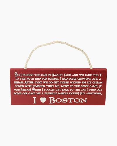 I Love Boston Wooden Sign