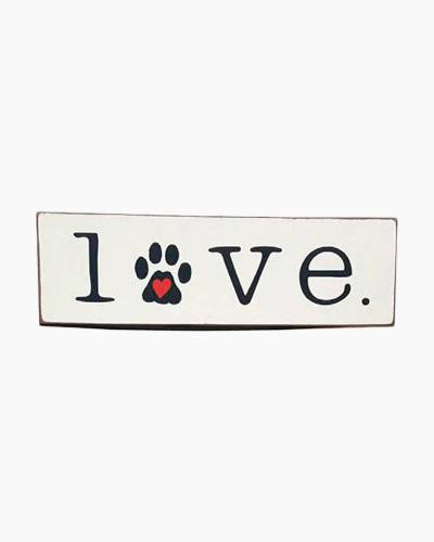 Love Paw Print Wooden Sign