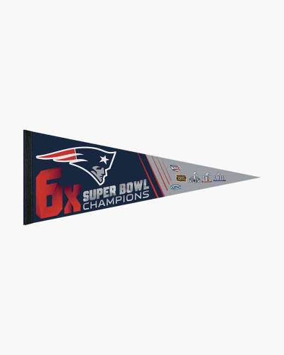 New England Patriots 6 Time Super Bowl Champions Pennant
