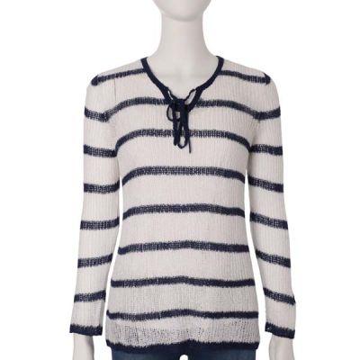 Navy Stripe Mesh Sweater