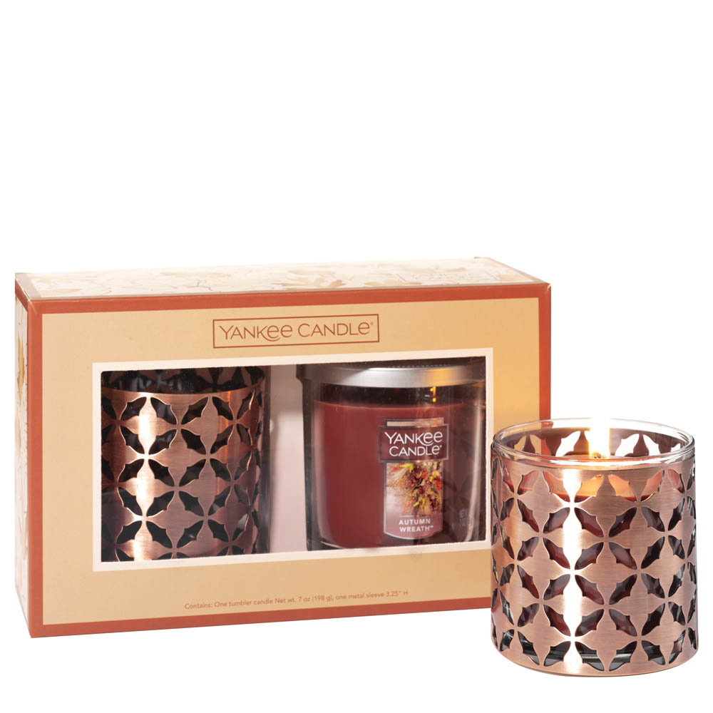 Yankee Candle Autumn Wreath Small Tumbler Candle and Metal Sleeve Gift Set