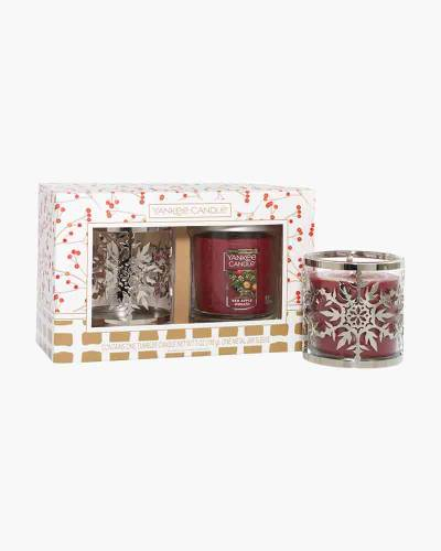 Red Apple Wreath Snowflake Tumbler Candle Gift Set
