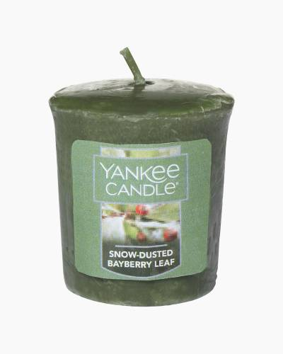 Snow-Dusted Bayberry Leaf Samplers Votive Candle