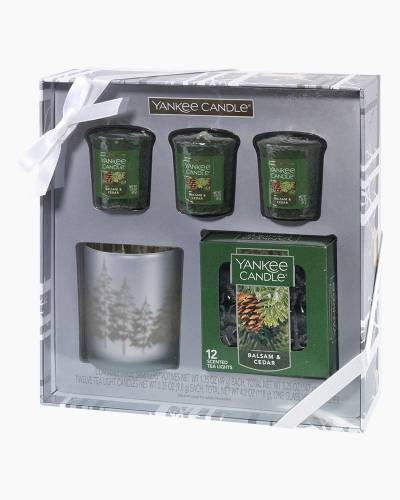 Winter Trees Tea Light and Voitve Candle Holder Gift Set